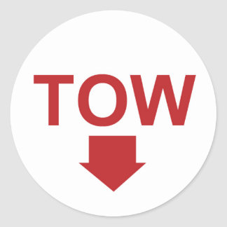 "Race car ""TOW"" Sticker Set with Arrow, White"