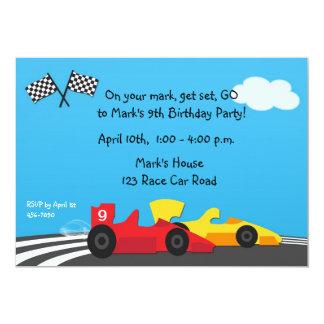 "Race Car Track Birthday Invitation 5"" X 7"" Invitation Card"