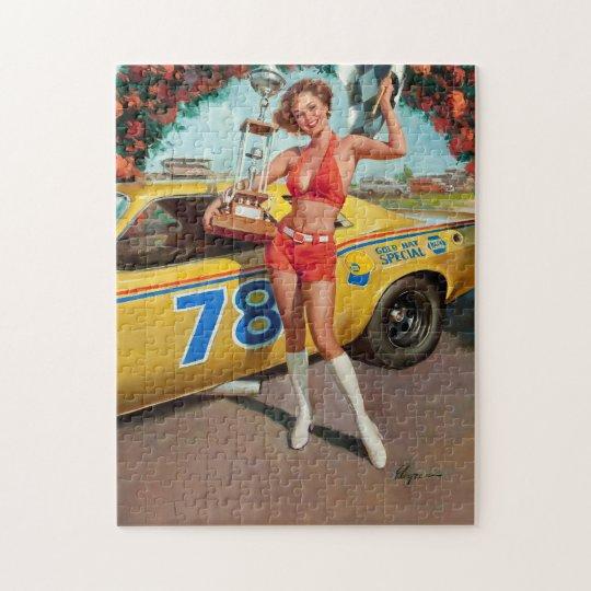 Race car trophy vintage pinup girl jigsaw puzzle