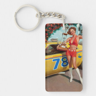 Race car trophy vintage pinup girl key ring