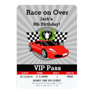 Race Car VIP Pass Birthday invitation! 13 Cm X 18 Cm Invitation Card