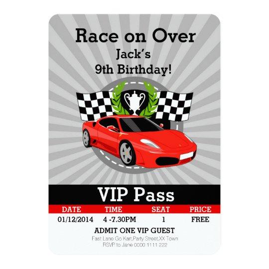 Race Car VIP Pass Birthday invitation! Card