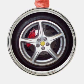Race Car Wheel Silver-Colored Round Decoration
