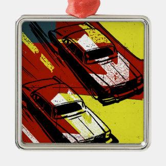 Race Cars Silver-Colored Square Decoration