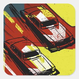 Race Cars Square Sticker