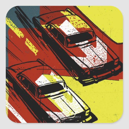 Race Cars Square Stickers