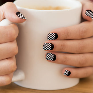 Race Checks Black and White Reverse French Tip Minx Nail Art