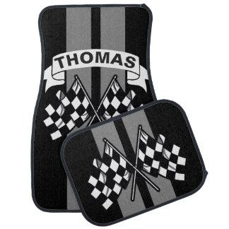 Race Flag Grey Race Stripes Personalized Car Mat