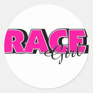 Race Girl Round Sticker