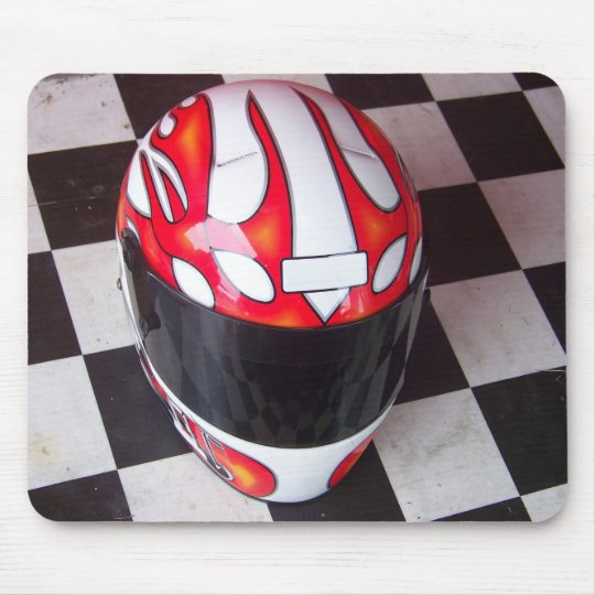 Race Helmet on Chequered Flag Mouse Mat