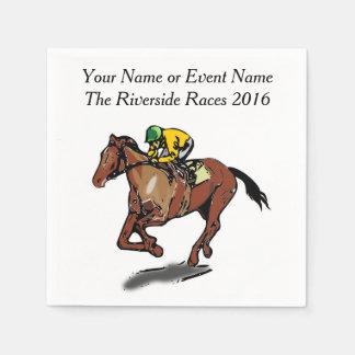 Race Horse and Jockey Custom Steeplechase Party Paper Napkin