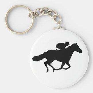 Race Horse Basic Round Button Key Ring