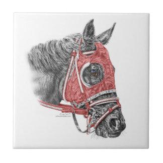 Race Horse Portrait Silks Tile