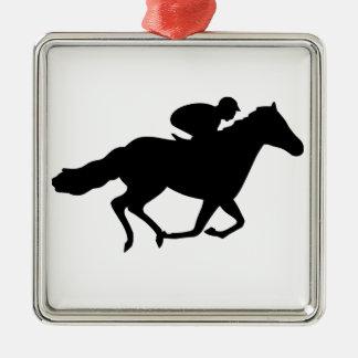 Race Horse Silver-Colored Square Decoration