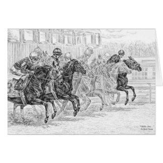 Race Horses at Starting Gate Art by Kelli Swan Card