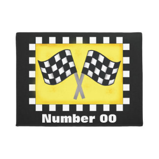 Race Number Checkered Flag Personalized Black Doormat
