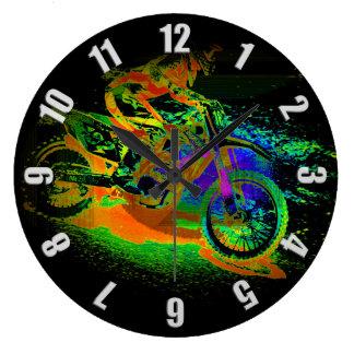 Race to the Finish! - Motocross Racer Wallclocks