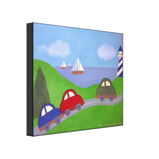 Race to the Regatta - 16x20 Car Boat Kids Wall Art Stretched Canvas Print