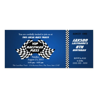 Race Track Pass Birthday Ticket 10 Cm X 24 Cm Invitation Card