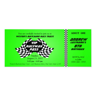 Race Track Pass Birthday Ticket Bright Green 10 Cm X 24 Cm Invitation Card