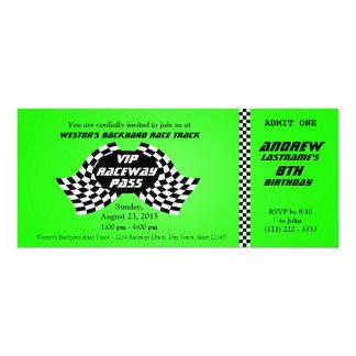 Race Track Pass Birthday Ticket Bright Green 10 Cm X 24 Cm Invitation Card