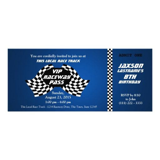 Race Track Pass Birthday Ticket Personalized Announcement
