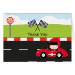 Racecar thank you birthday greeting card