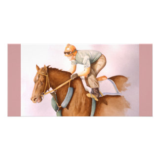 RaceHorse WaterColor Photo Greeting Card