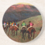 Racehorses in a Landscape jockeys horse art Degas Beverage Coasters