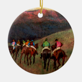 Racehorses in a Landscape jockeys horse art Degas Christmas Ornament