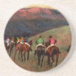 Racehorses in a Landscape jockeys horse art Degas Beverage Coasters