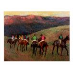 Racehorses in a Landscape jockeys horse art Degas Postcard