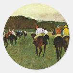 Racehorses In Longchamp By Edgar Degas Sticker