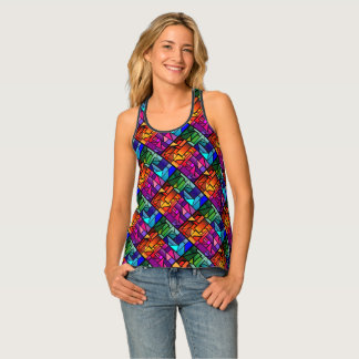 "Racer Back Tank Top with ""Stained Glass"" design"