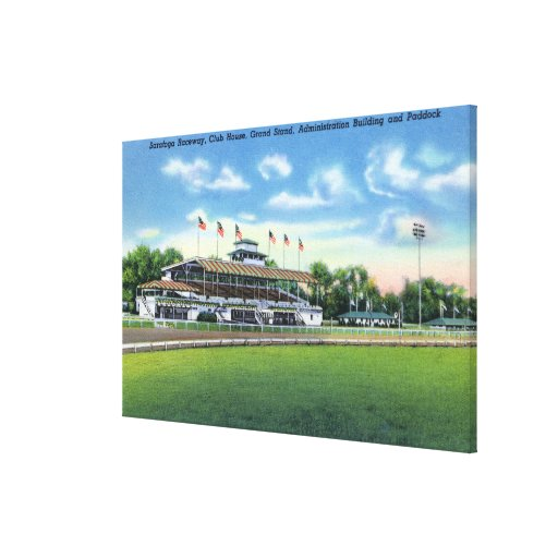 Raceway View of Grand Stand, Club House, Stretched Canvas Print
