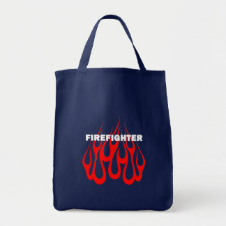 Racey Flames FF Grocery Tote Bag