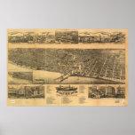 Racine WI 1883 Antique Panoramic Map