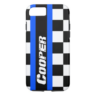 Racing auto sports chequered blue name iphone case