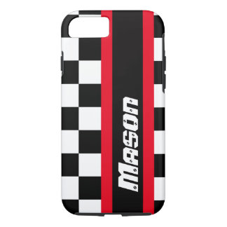 Racing auto sports chequered flag name iPhone case