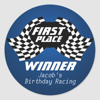 Racing Birthday Checkered Flags 1st Place Round Stickers