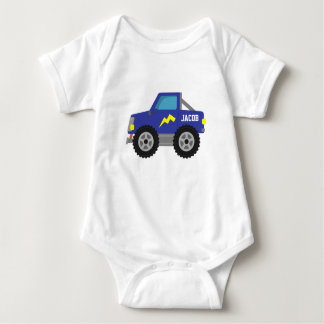 Racing Blue Monster Truck, for Baby Boys Baby Bodysuit