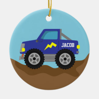 Racing Blue Monster Truck, for Boys Christmas Ornament