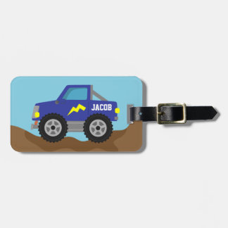 Racing Blue Monster Truck, for Boys Luggage Tag