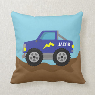 Racing Blue Monster Truck, for Boys Room Cushion