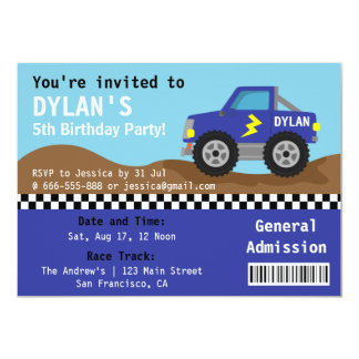 Racing Blue Monster Truck Party, Admission Ticket 11 Cm X 16 Cm Invitation Card