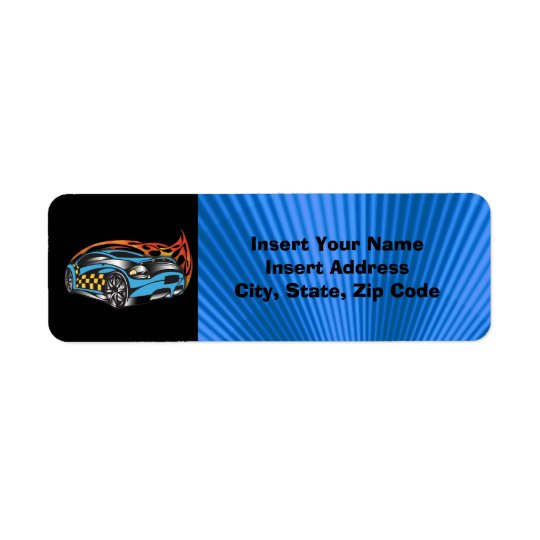 Racing Car  Avery Label Return Address Label