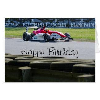 Racing car birthday greeting card