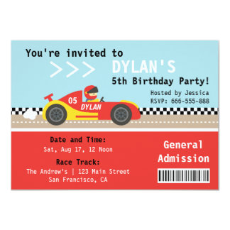 Racing Car, Birthday Party, Boys Admission Ticket 11 Cm X 16 Cm Invitation Card