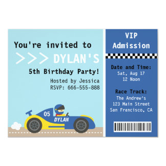 Racing Car, Birthday Party, Boys Admission Ticket Card