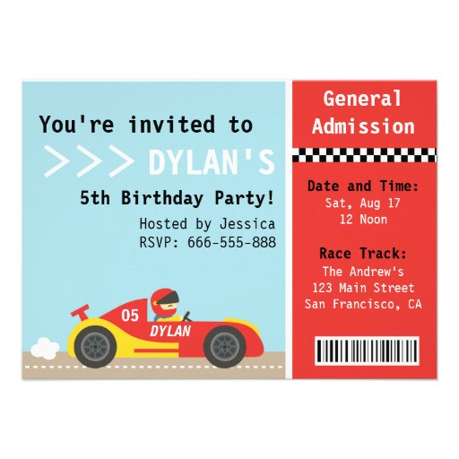 Racing Car, Birthday Party, Boys Admission Ticket Personalized Invites